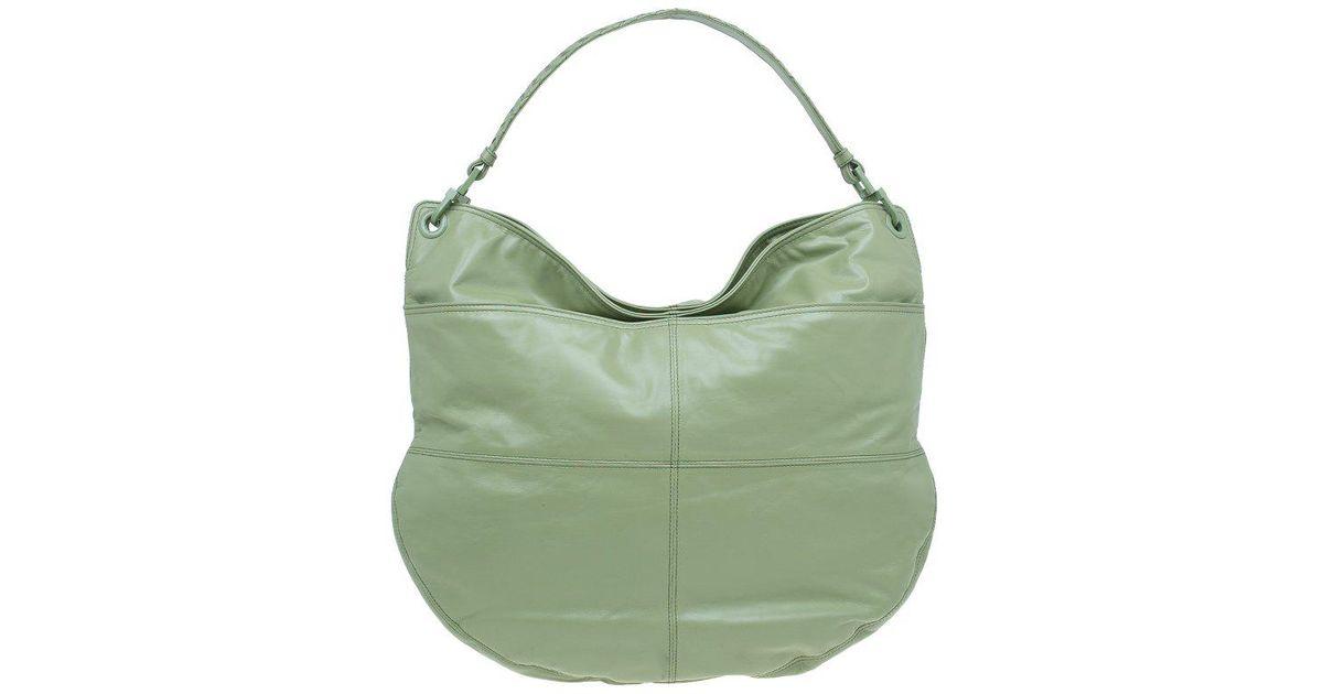 Bottega Veneta Mela Leather Woven Handle Hobo Bag in Green - Lyst d42312b61aea4