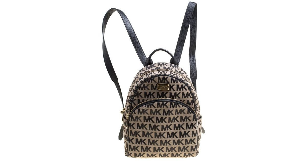 a7d7952bb25d Michael Kors Beige black Signature Canvas And Leather Abbey Backpack in  Brown - Lyst