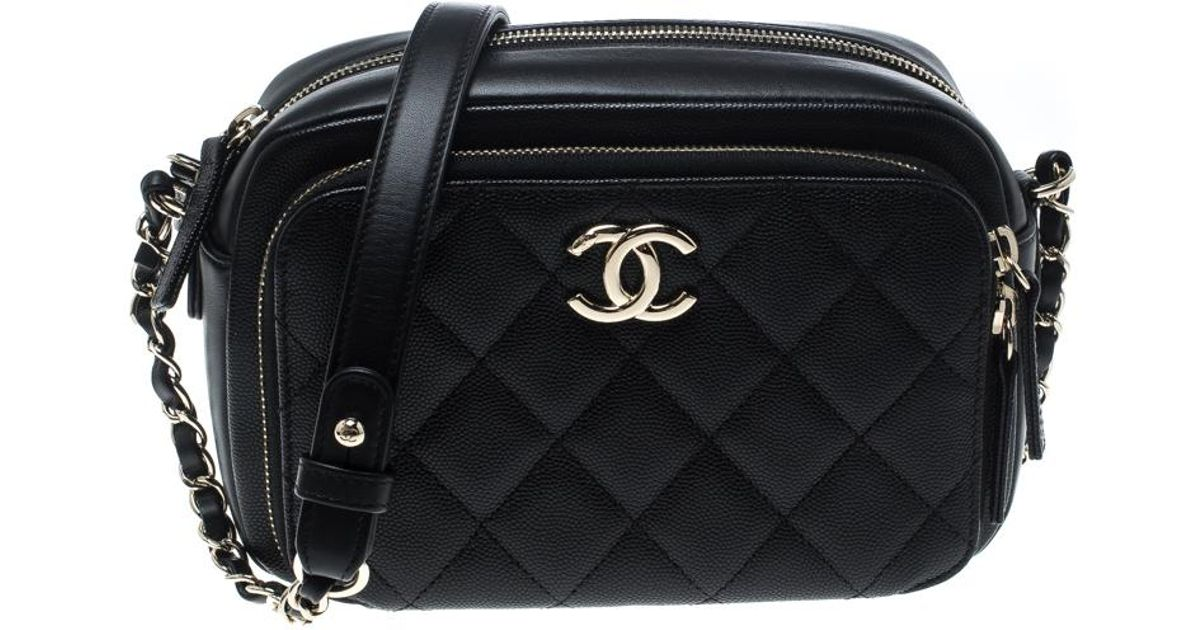 757de40e9bacab Chanel Quilted Leather Business Affinity Camera Case Shoulder Bag in Black  - Lyst