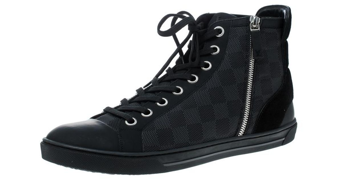5f76b23d6cbf Lyst - Louis Vuitton Damier Graphite Fabric And Suede Trim Zip Up High Top  Sneakers in Black for Men