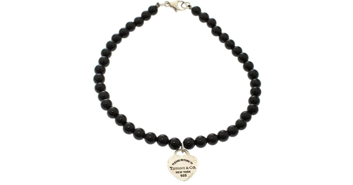 42a9a0e6b Tiffany & Co. Return To Tiffany Silver Heart Tag Onyx Bead Bracelet in  Black - Lyst