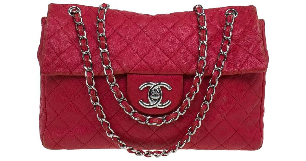 83c9fcb23e8 Chanel Washed Caviar Leather Maxi Jumbo Xl Classic Flap Bag in Red - Lyst