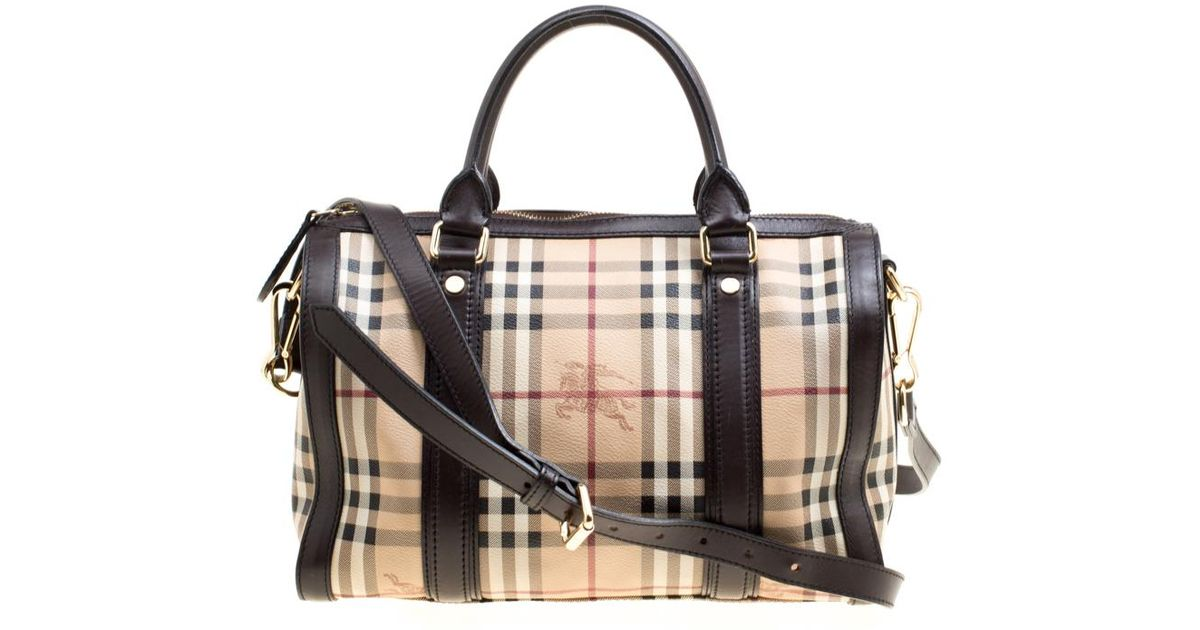 4deb18e501dd Lyst - Burberry  brown Haymarket Check Canvas And Leather Alchester Bowler  Bag in Natural
