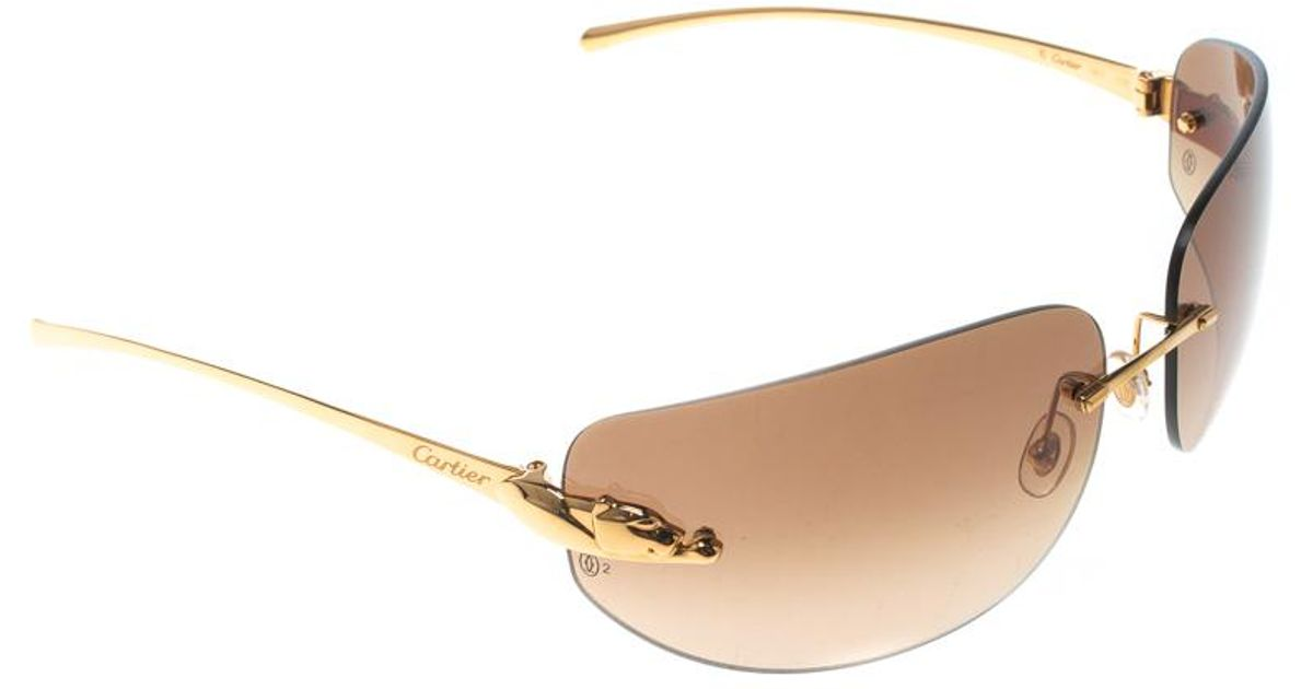 011a9ca9a36 Cartier Gold  Gradient Panthere De Rimless Sunglasses in Brown - Lyst