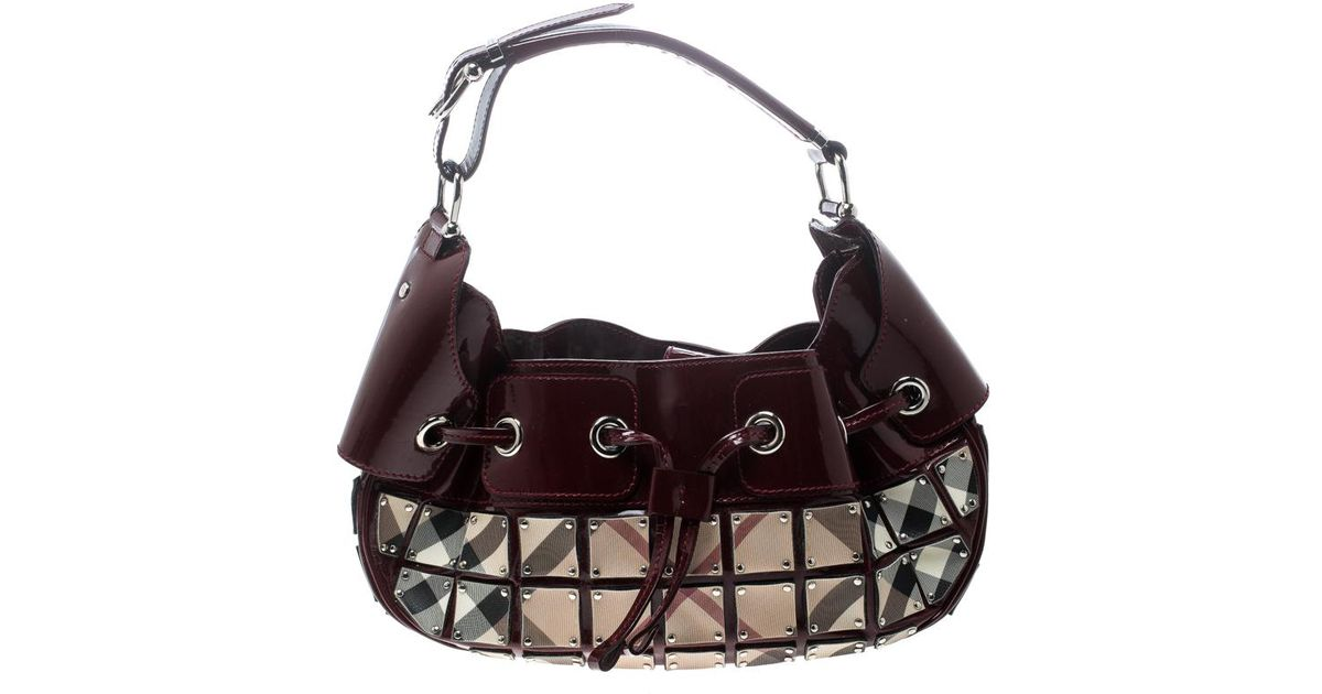 Burberry Maroon beige Patent Leather And Super Nova Check Mini Warrior  Studded Hobo in Red - Lyst 5bc938d4b525c