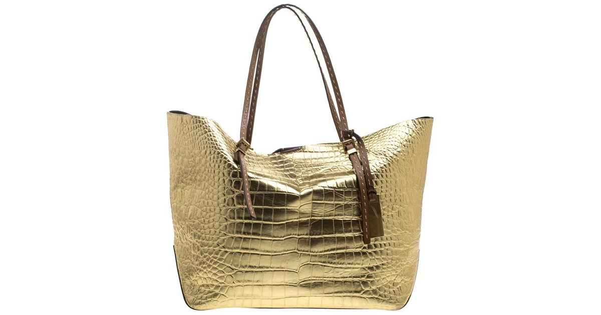 9e1258c844a8 Lyst - MICHAEL Michael Kors Gold Croc Embossed Leather Gia Tote in Metallic