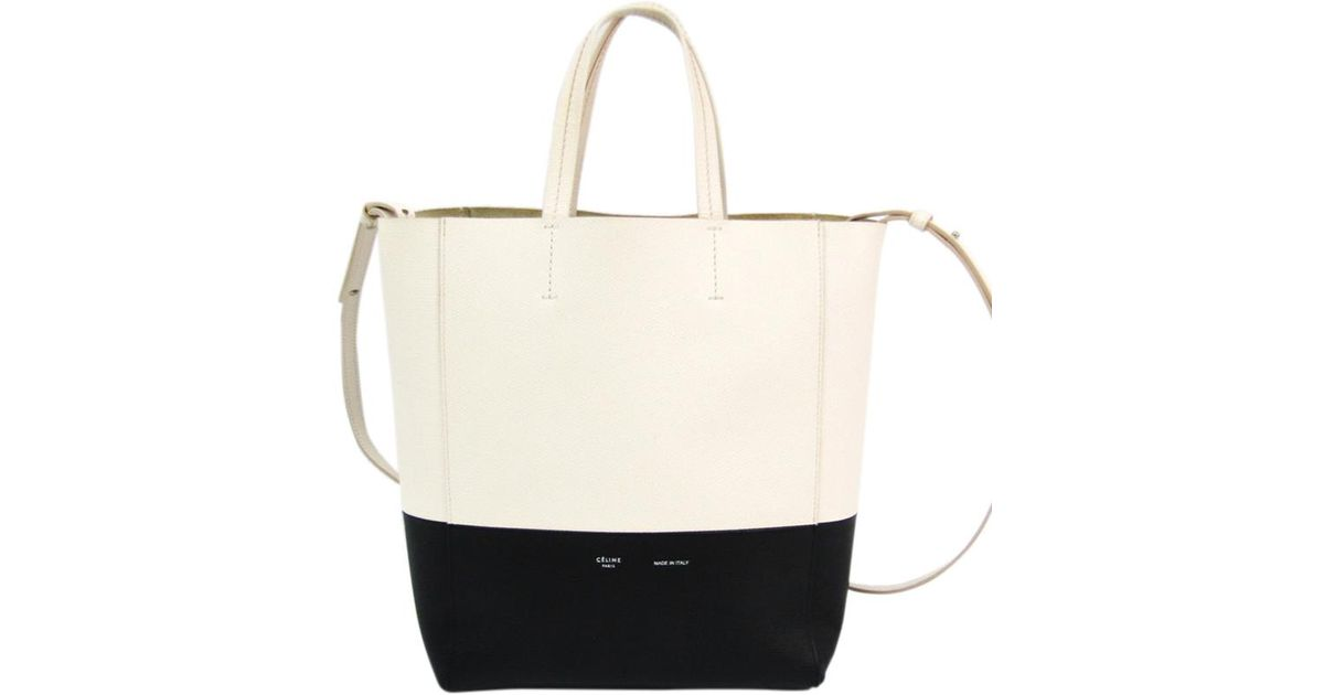 87c1438c8c Lyst - Céline Two Tone Leather Small Cabas Vertical Tote