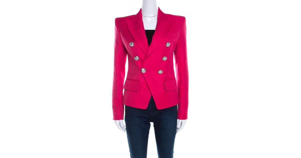0d9ee93e Balmain Hot Pink Basketweave Textured Double Breasted Blazer S in Pink -  Lyst