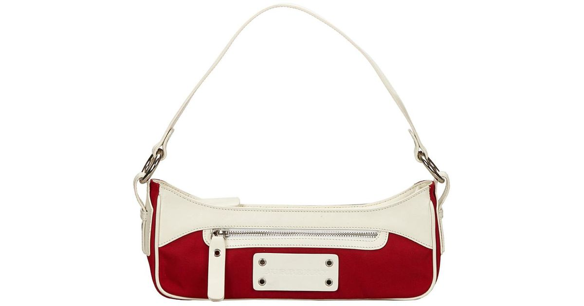 Burberry Bicolor Nylon leather Shoulder Bag in Red - Lyst 54ef99af425f3
