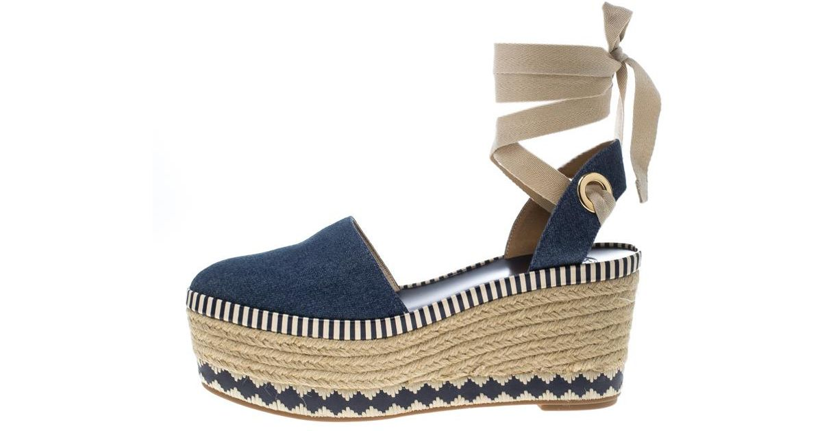 d88b282efe4 Tory Burch - Blue Denim Dandy Ankle Wrap Espadrille Wedge Sandals - Lyst