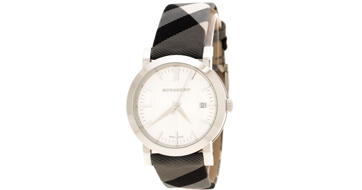 f3d410b754f5 Burberry Silver Stainless Steel Nova Check Bu1378 Women s Wristwatch 38 Mm  in Gray - Lyst