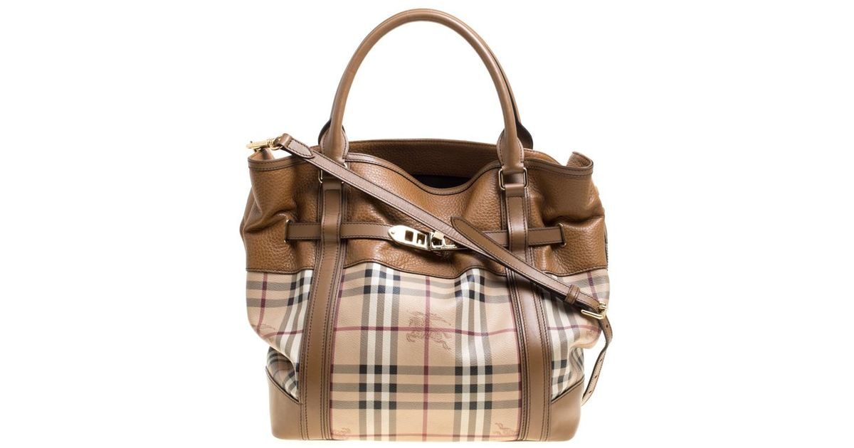 044a61393a0 Burberry  tan Haymarket Check Canvas And Leather Medium Golderton Tote in  Natural - Lyst