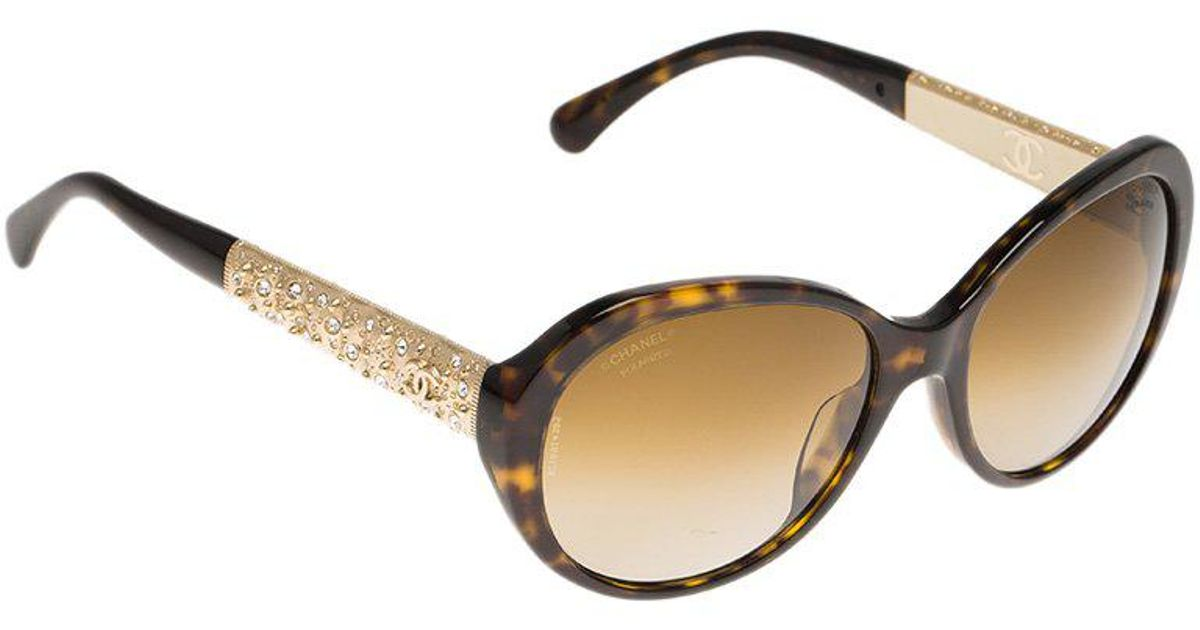6ee8ed7245 Chanel Tortoise Frame 5290 Embellished Oval Polarized Sunglasses in Brown -  Lyst