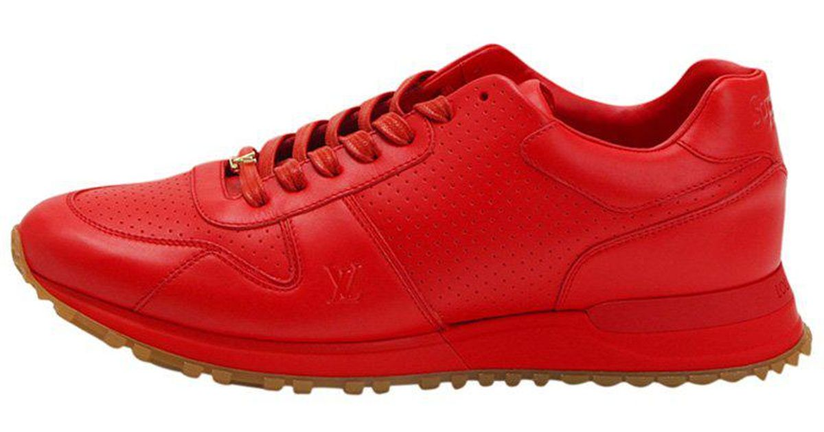 3bed9691950b Louis Vuitton X Supreme Limited Edition Perforated Leather Runaway Sneakers  in Red for Men - Lyst