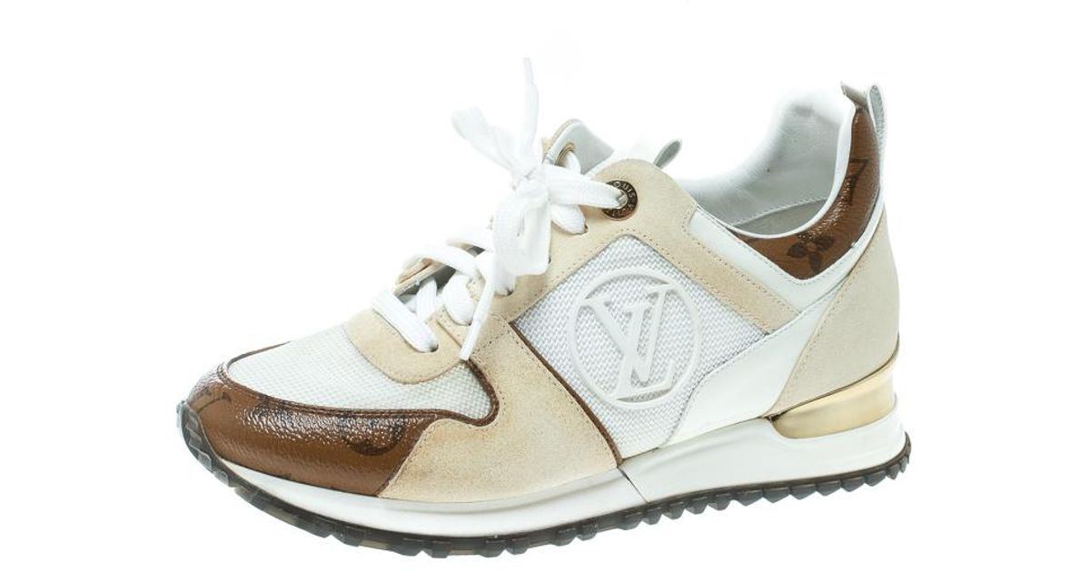 3da17279e53d Lyst - Louis Vuitton Suede With White Mesh And Monogram Canvas Run Away  Sneakers in Natural