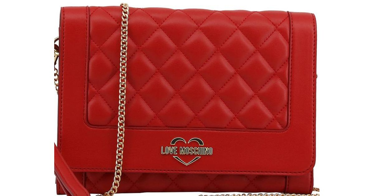 27f60c6add71 Lyst - Moschino Love Quilted Leather Wristlet Chain Clutch Bag in Red