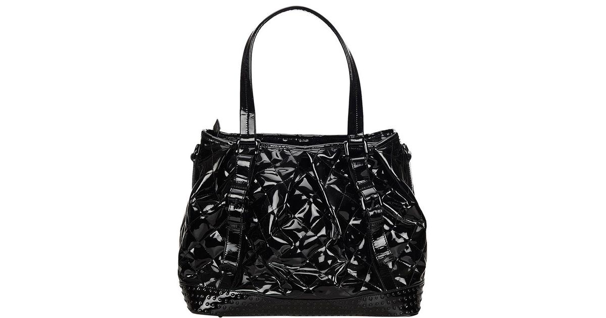 8af2f6e9685 Burberry Quilted Patent Leather Studded Tote in Black - Lyst