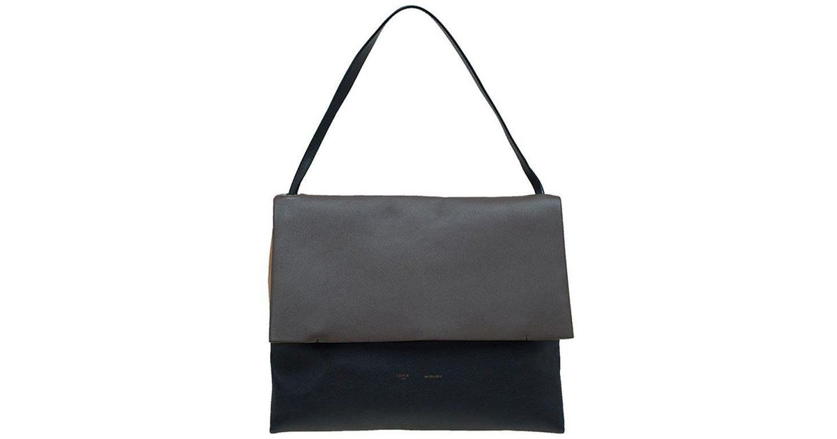 6e6a34bb1918 Céline Tri Color Leather And Suede All Soft Shoulder Bag in Black - Lyst