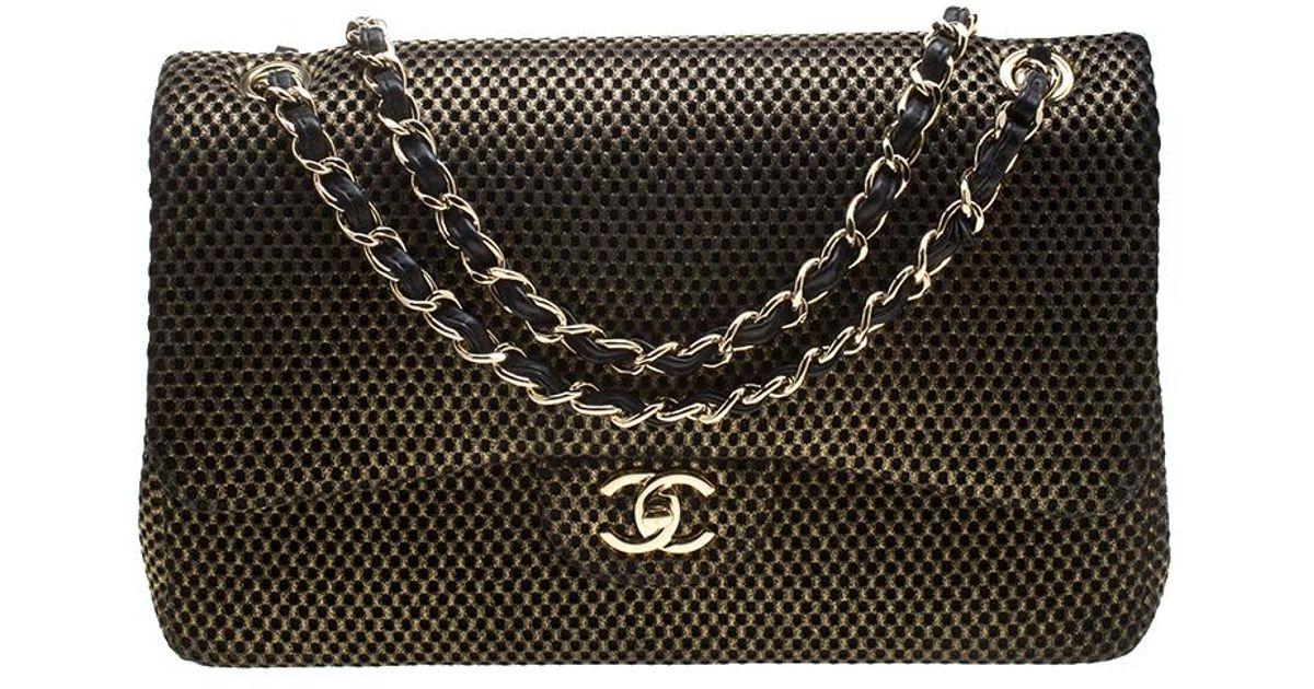233cf2eb379b Lyst - Chanel Black  Perforated Jersey Jumbo Classic Double Flap Bag in  Metallic