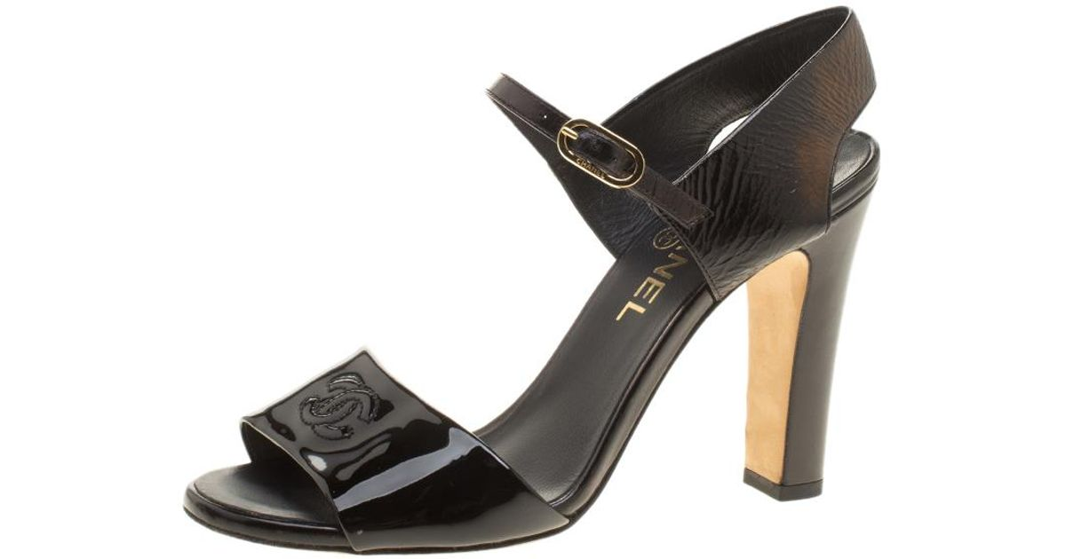1846777008a Chanel Patent Leather Cc Block Heel Sandals in Black - Lyst