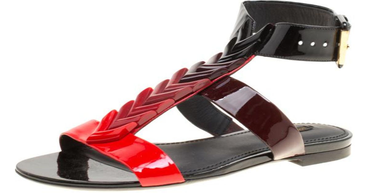 94767648ae7 Lyst - Louis Vuitton Tri Color Gradient Patent Leather Bright Shades Flat Gladiator  Sandals in Black