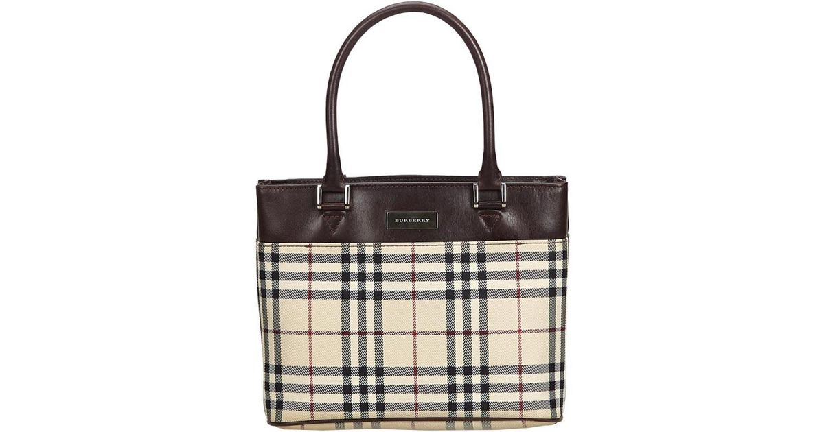 959cb0952ff3 Lyst - Burberry Brown Plaid Coated Canvas Everyday Bag in Brown