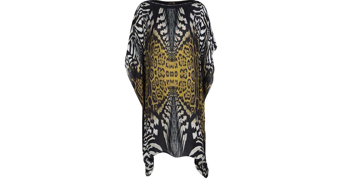 ae2974cc6de9d Roberto Cavalli Animal Printed Silk Kaftan Tunic M - Lyst