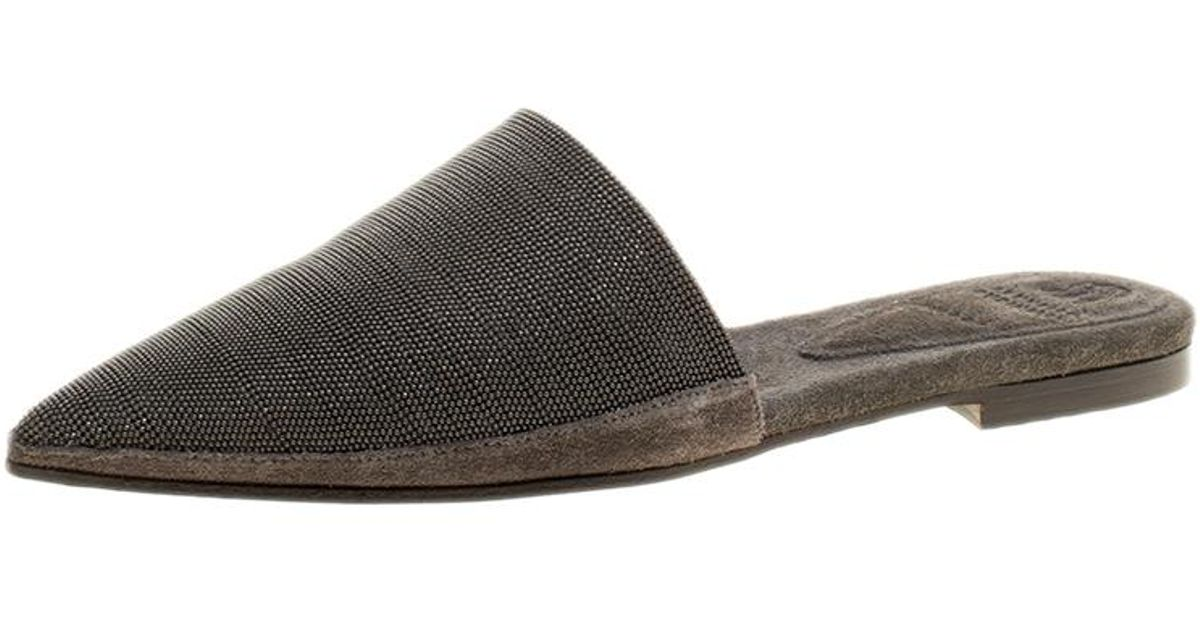 bc4aded7f7121 Lyst - Brunello Cucinelli Suede Monile Pointed Toe Slip On Mules in Gray