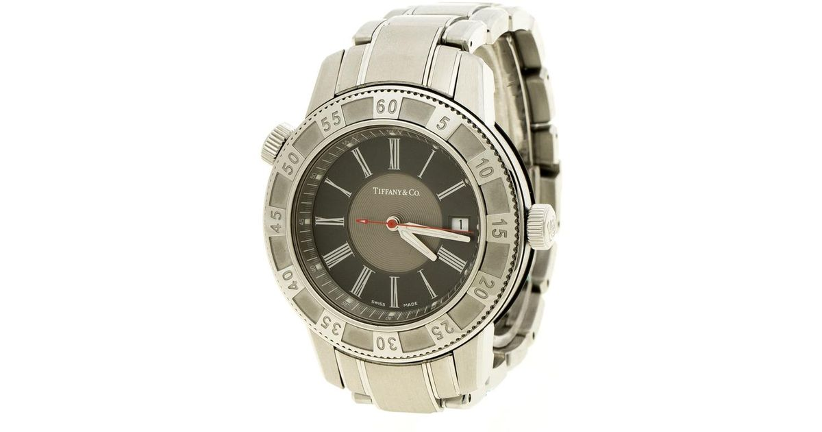 ce8274eb8010d Lyst - Tiffany & Co. Grey Stainless Steel Mark T-57 Quartz Men's Wristwatch  42 Mm in Metallic for Men