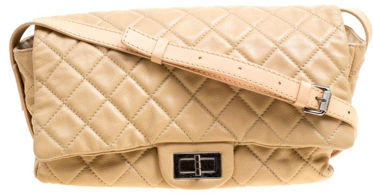 e3a32f21ecff3a Chanel Quilted Leather Crossbody Bag in Natural - Lyst