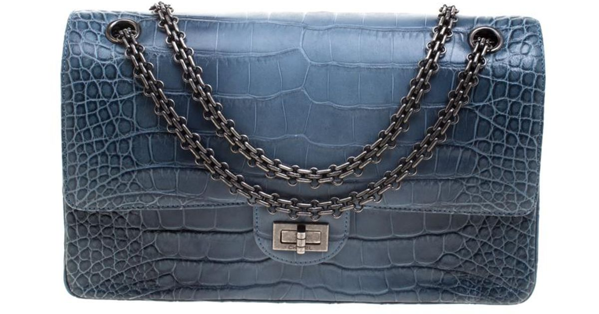 736e288b0817c0 Chanel Teal Blue Alligator Reissue Flap Bag in Gray - Lyst