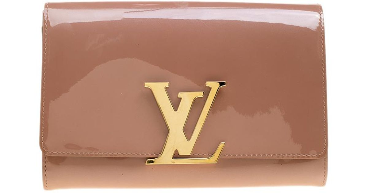 f9442971d63f Louis Vuitton Rose Velours Patent Leather Louise Clutch in Natural - Lyst