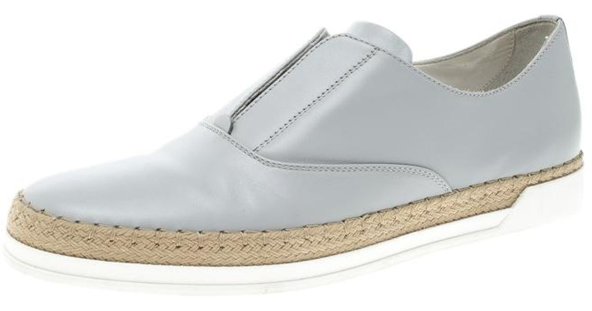 6ffa5531a Tod's Grey Leather Francesina Espadrille Slip On Sneakers Size 37.5 in Gray  - Lyst