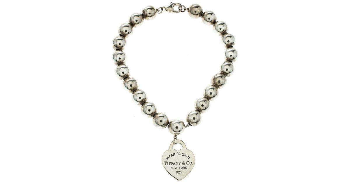 b1b57d756 Tiffany & Co. Return To Tiffany Heart Tag Bead Bracelet in Metallic - Lyst