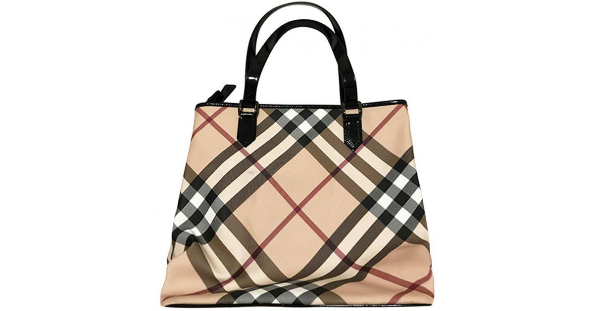Lyst - Burberry Black Nova Check Coated Canvas Large Nickie Tote in Black f93ff7ccd240d
