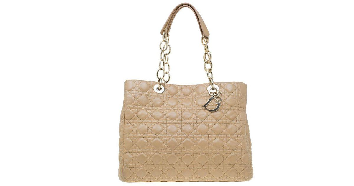 e66bac8b01b0 Dior Cannage Quilted Soft Leather Large Shopping Tote in Natural - Lyst