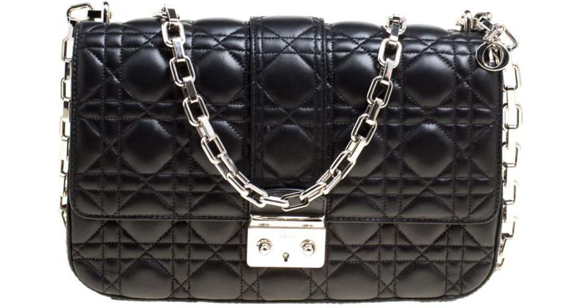 482f915741db60 Dior Cannage Leather Miss Medium Flap Bag in Black - Lyst