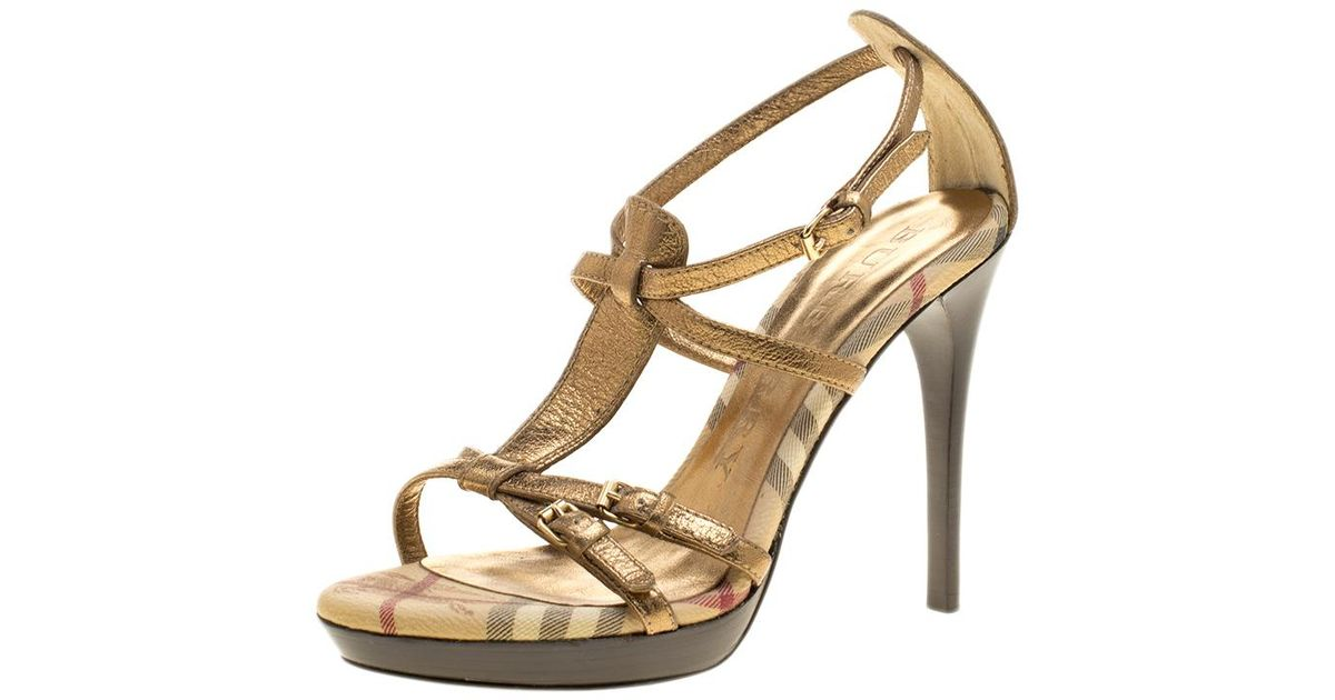 9d894c85808 Lyst - Burberry Dull Gold Leather Strappy Platform Peep Toe Sandals in  Metallic