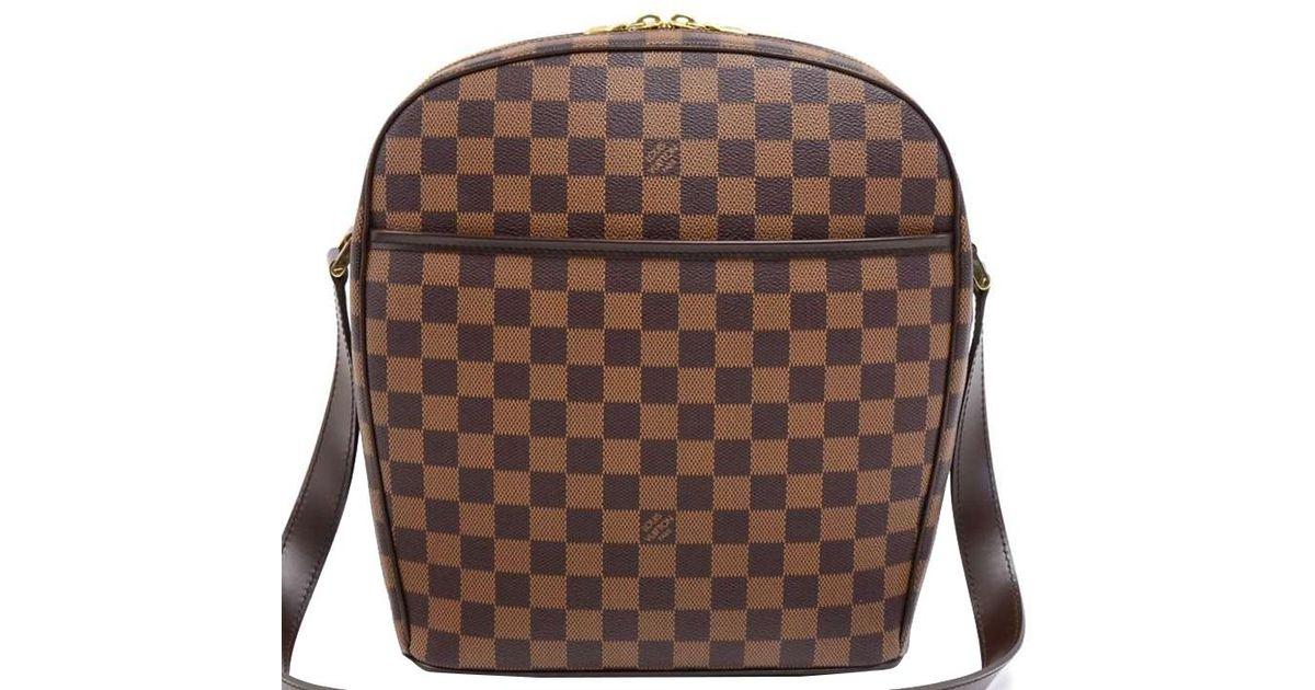 a64994cc89e2 Lyst - Louis Vuitton Damier Ebene Canvas Ipanema Gm Bag in Brown