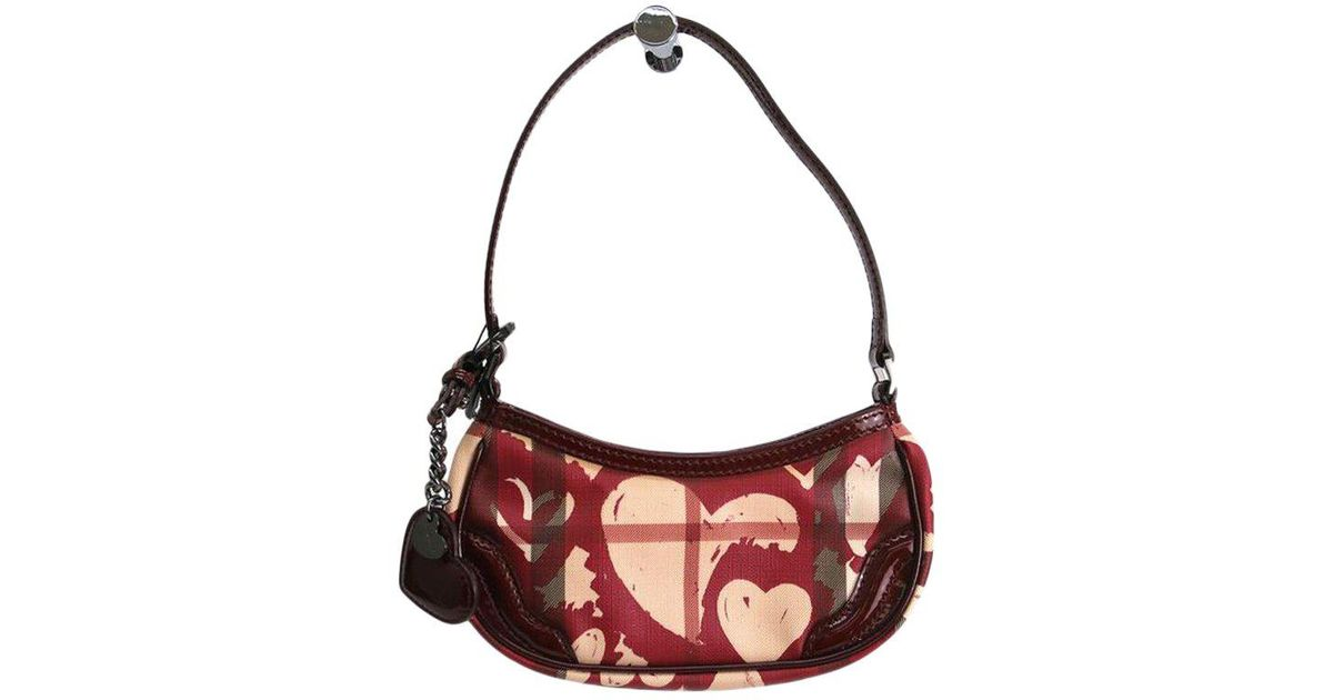 Lyst - Burberry Nova Check Heart Print Coated Canvas Shoulder Bag in Red 0c1e80abfc4fc