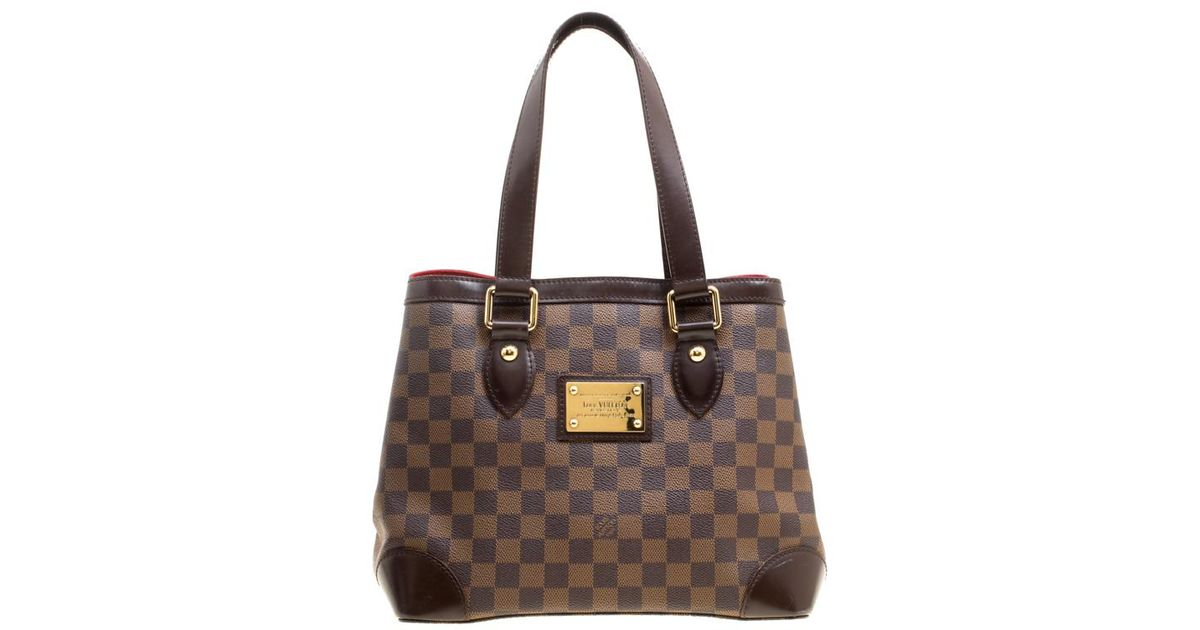 Lyst - Louis Vuitton Damier Ebene Canvas And Leather Hampstead Pm Bag in  Brown a4fb61b9e22e9
