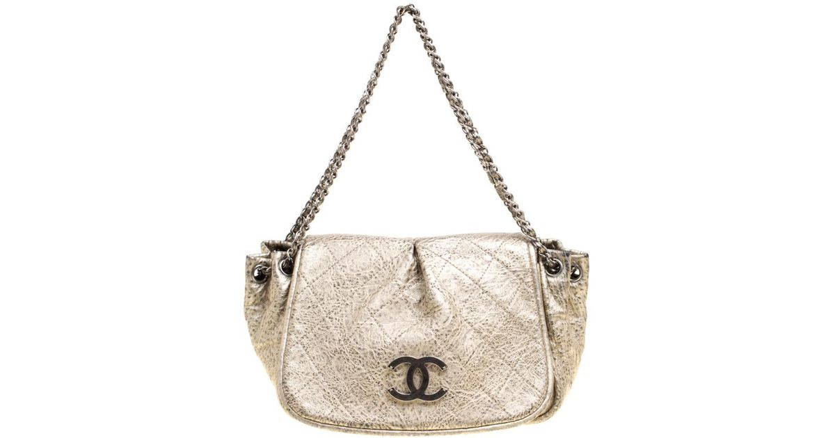 f2f3310cfd00 Chanel Light Leather Cc Accordion Flap Shoulder Bag in Metallic - Lyst
