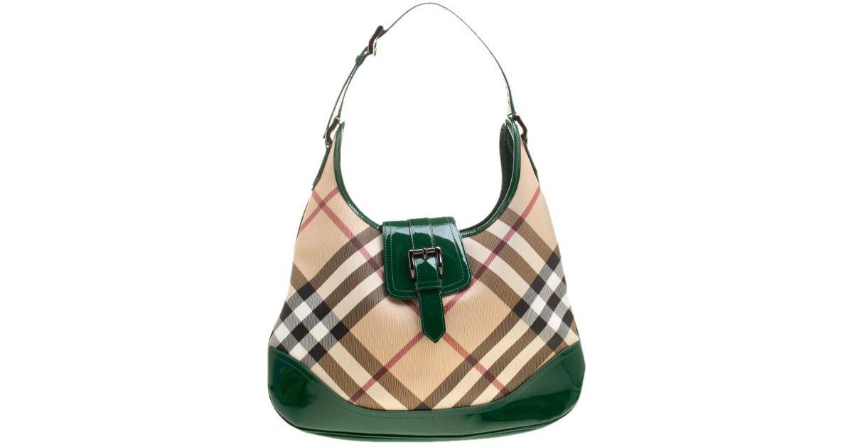e54e5106b877 Lyst - Burberry  green Nova Check Pvc And Patent Leather Brooke Hobo in  Natural