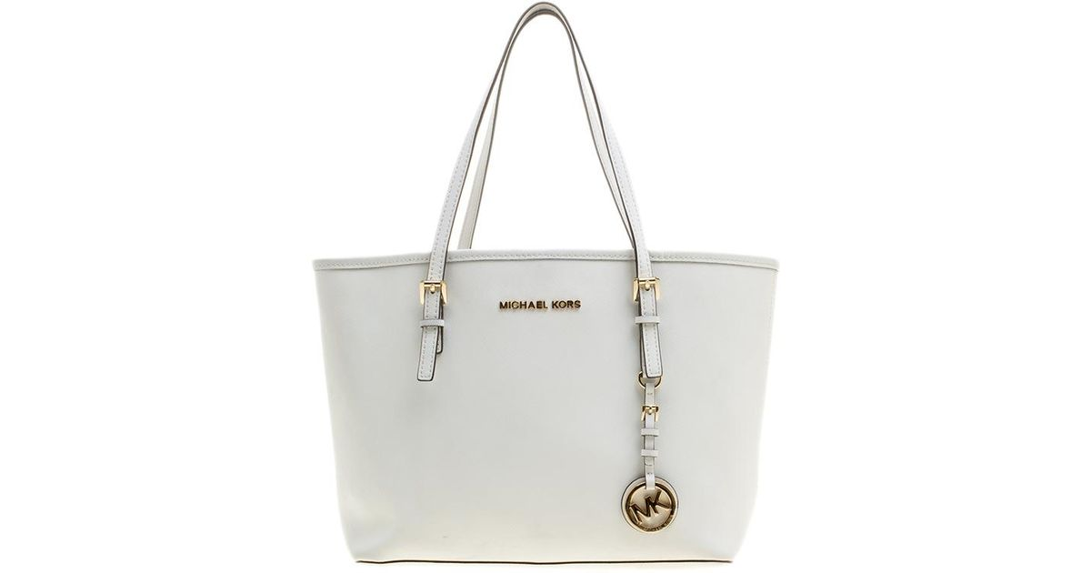 d531c02afce2 Michael Kors Saffiano Leather Jetset Tote in White - Lyst