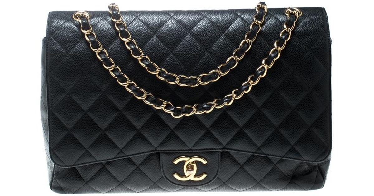 2f9b52ff8df5 Lyst - Chanel Quilted Caviar Leather Maxi Classic Double Flap Bag in Black