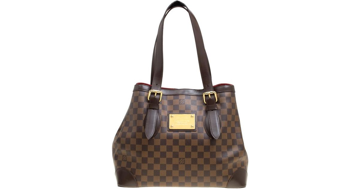 26bdb17aa389 Louis Vuitton Damier Ebene Canvas And Leather Hampstead Mm Bag in Brown -  Lyst