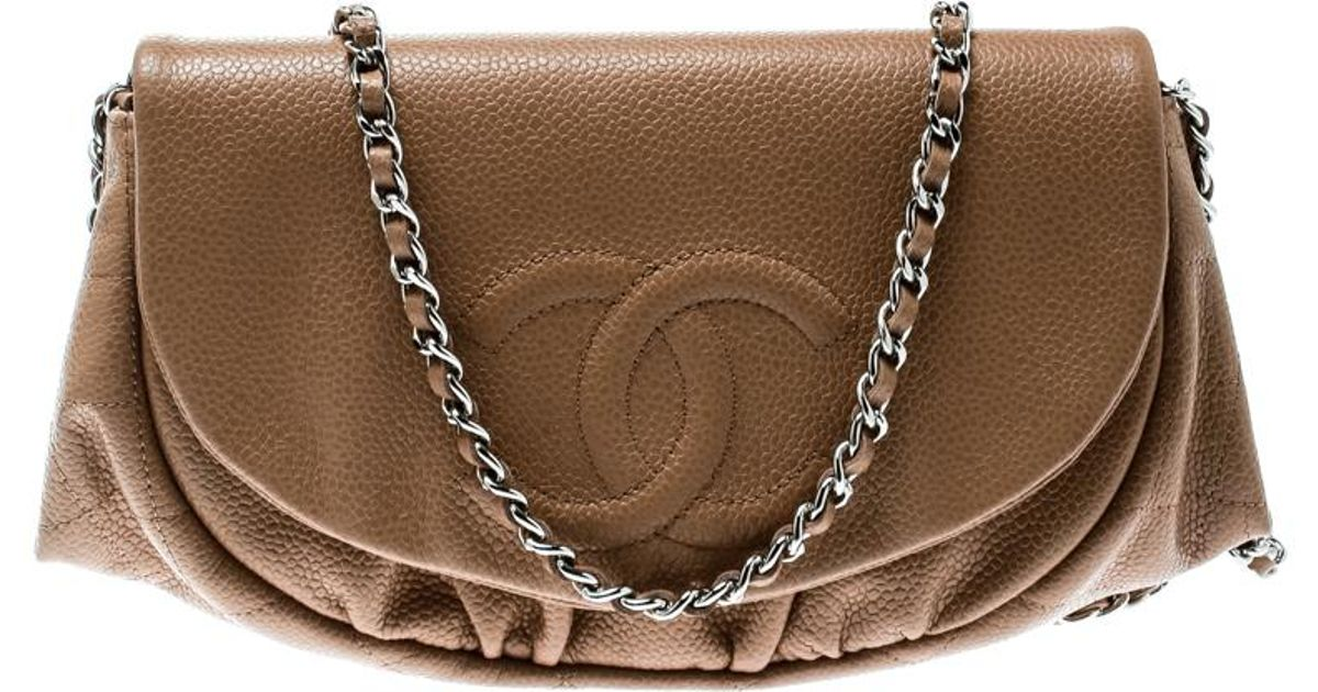 48a677a77bc0 Lyst - Chanel Leather Halfmoon Woc Bag in Brown
