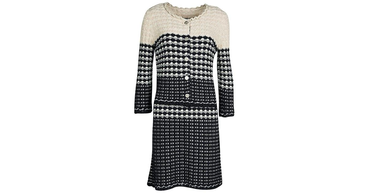 44047546a09 Lyst - Chanel Navy Blue And Beige Knit Dress And Cardigan Set M in Blue