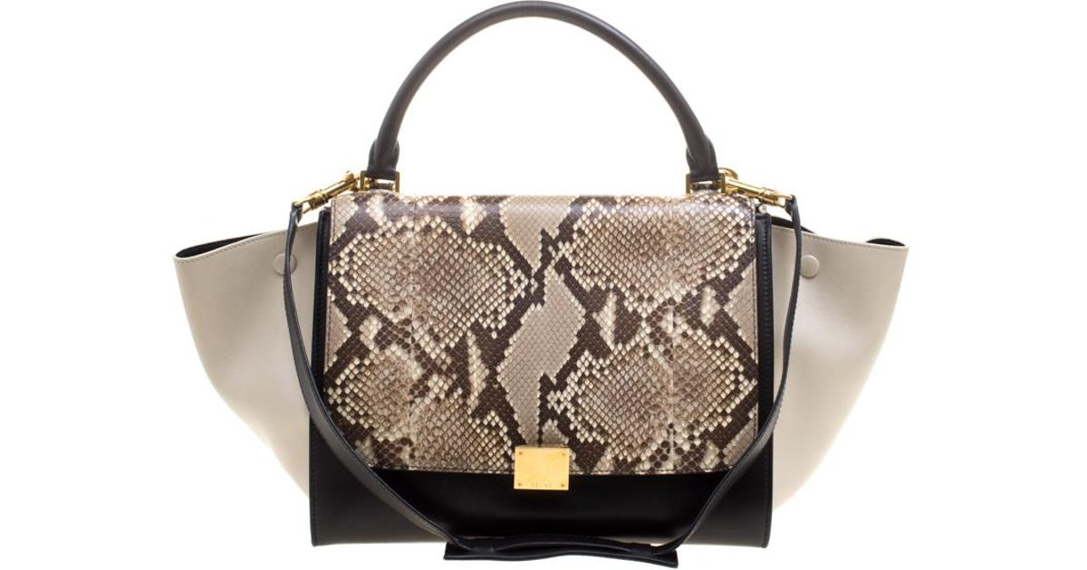 Lyst - Céline Tri Color Leather And Snakeskin Medium Trapeze Tote in Black 6c8c7fe4a5d11