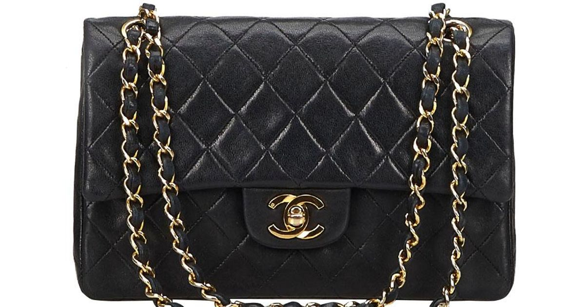 2979dd8fd7f8 Lyst - Chanel Quilted Leather Medium Vintage Classic Double Flap Bag in  Black